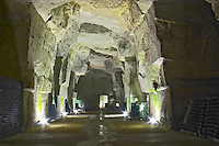 The underground cellar in an ancient limestone quarry. Ackerman Laurance, Saumur, Loire, France