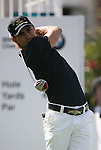 6 September 2008:    Camilo Villegas tees off on the first hole in the second round of play at the BMW Golf Championship at Bellerive Country Club in Town & Country, Missouri, a suburb of St. Louis, Missouri.  The BMW Championship is the third event on the PGA's Fed Ex Tour. Villegas, of Medellin Colombia (South America) was the leader after the conclusion of round one with a five-under par score.