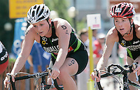 29 JUL 2007 - SALFORD, UK - Jodie Swallow and Andrea Whitcombe - Salford ITU World Cup Triathlon. (PHOTO (C) NIGEL FARROW)