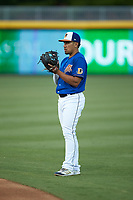 Durham Bulls second baseman Kean Wong (5) on defense against the Louisville Bats at Durham Bulls Athletic Park on May 28, 2019 in Durham, North Carolina. The Bulls defeated the Bats 18-3. (Brian Westerholt/Four Seam Images)