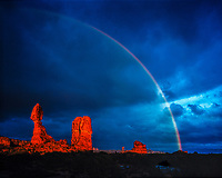 Rainbow at Balanced Rock, Arches National Park, Utah Stormlight at sunset Entrada sandstone