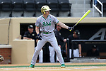 WAKE FOREST, NC - APRIL 15: Notre Dame's Kyle Fiala. The Wake Forest Demon Deacons hosted the University of Notre Dame Fighting Irish on April 15, 2017, at David F. Couch Ballpark in Wake Forest, NC in a Division I College Baseball game. Wake Forest won the game 13-7.