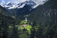 View to roof tops of Boden villages in the valley. Hahntennjoch pass, between Imst and Elmen, Tyrol. Austria.