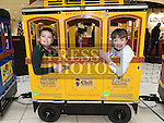 Jordan Quigley and Luke Kelly on Santa's train at Drogheda Town Centre. Photo:Colin Bell/pressphotos.ie