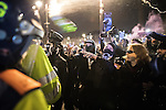 © Joel Goodman - 07973 332324 . 05/11/2016 . London , UK . Supporters of Anonymous , many wearing Guy Fawkes masks , attend the Million Mask March bonfire night demonstration , and clash with police in Trafalgar Square in central London . Photo credit : Joel Goodman