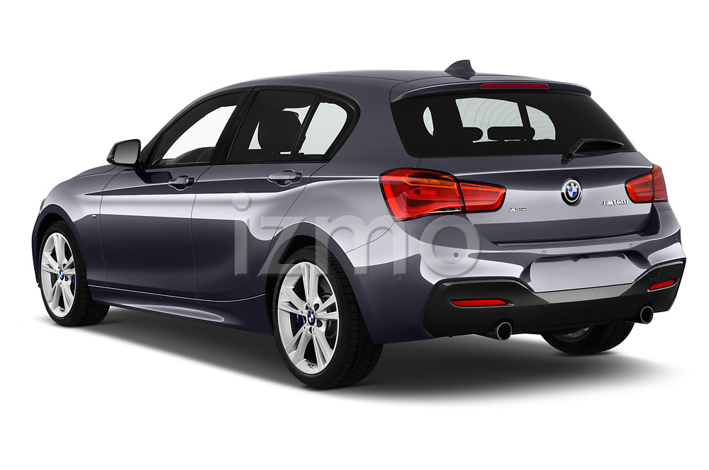 Car pictures of rear three quarter view of a 2018 BMW 1 Series Base 5 Door Hatchback angular rear