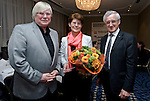 "BRUSSELS - BELGIUM - 24 March 2015 -- BOGK - German Association of the Fruit, Vegetable and Potato Processing Industry - Award ceremony ""Ambassador of Good Taste"". -- Konnrad LINKENHEIL (left), President of BOGK  and MEP Albert DESS (right), Group of the European People's Party (Christian Democrats - Germany) presented the award to MEP Renate SOMMER, Group of the European People's Party (Christian Democrats - Germany). -- Photo: Juha ROININEN / EUP-IMAGES"