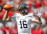 Kent State Golden Flashes quarterback Nathan Strock (16) drops back to pass against Ohio State Buckeyes in the 2nd quarter of their game in Ohio Stadium on September 13, 2014.  (Dispatch photo by Kyle Robertson)