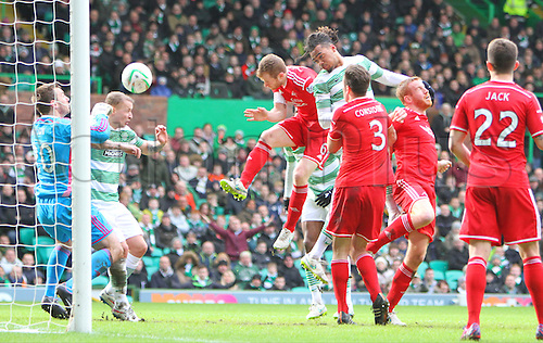 01.03.2015.  Glasgow, Scotland. Scottish Premier League. Celtic versus Aberdeen. Jason Denayer scores the first goal for Celtic in the 37th minute