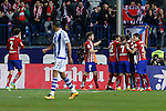 Atletico de Madrid´s players celebrate a goal during 2015-16 La Liga match between Atletico de Madrid and Real Sociedad at Vicente Calderon stadium in Madrid, Spain. March 01, 2016. (ALTERPHOTOS/Victor Blanco)