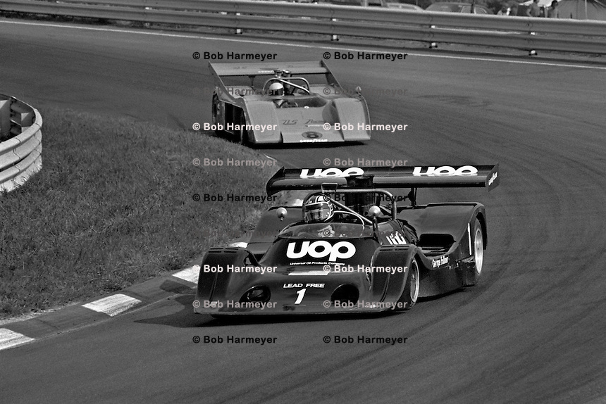 WATKINS GLEN, NY - JULY 14: George Follmer drives the Phoenix Racing Organizations Shadow DN4 Chevrolet ahead of Scooter Patrick in the U.S. Racing McLaren M20 1/Chevrolet during the SCCA Can-Am race at the Watkins Glen Grand Prix Race Course near Watkins Glen, New York, on July 14, 1974.