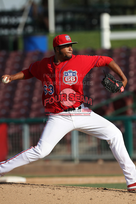 Manaurys Correa #63 of the Inland Empire 66'ers pitches against the High Desert Mavericks at San Manuel Stadium on April 29, 2012 in San Bernardino,California. Inland Empire defeated High Desert 3-0.(Larry Goren/Four Seam Images)