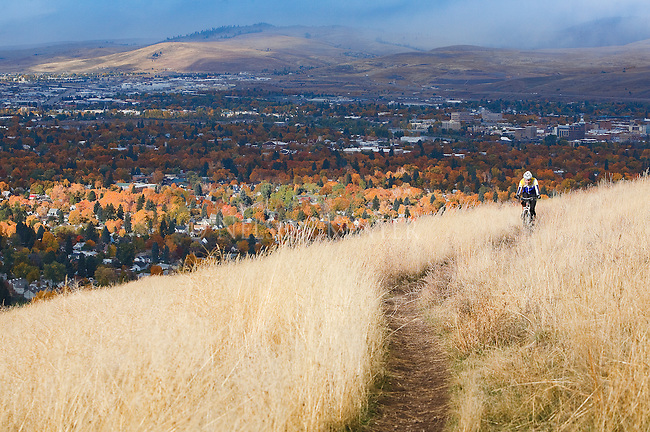 A mountain bike rider on a trail on the hills above Missoula, Montana with fall colors of the trees in the valley and the grass on Mount Sentinel