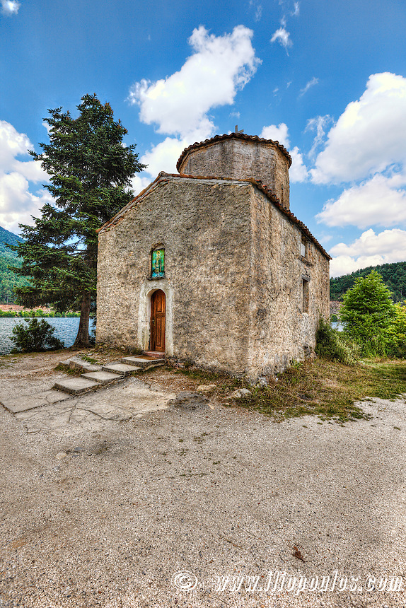 Agios Fanourios (Palaiomonastiro) church in Lake Doxa of Feneos, Greece