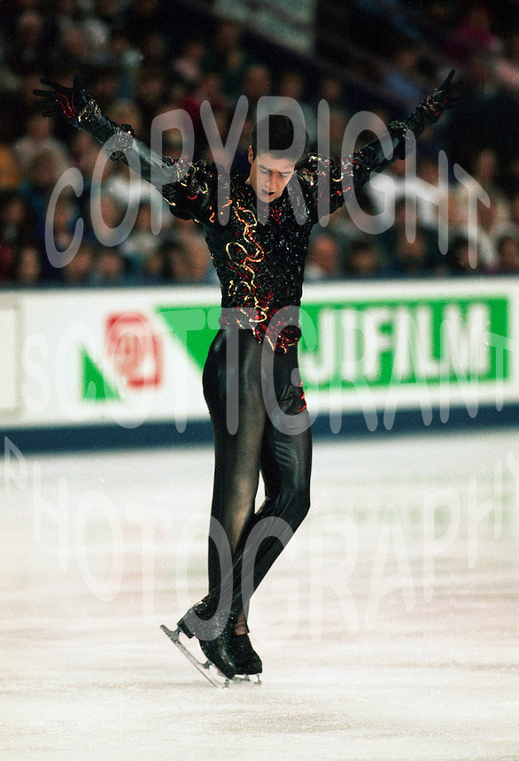 Alexei Urmanov Russian figure skater competes at the 1996 World Figure Skating Championships in Edmonton, Canada. Photo copyright Scott Grant.