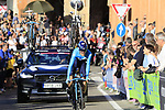 Antonio Pedrero (ESP) Movistar Team on the San Luca climb during Stage 1 of the 2019 Giro d'Italia, an individual time trial running 8km from Bologna to the Sanctuary of San Luca, Bologna, Italy. 11th May 2019.<br /> Picture: Eoin Clarke | Cyclefile<br /> <br /> All photos usage must carry mandatory copyright credit (© Cyclefile | Eoin Clarke)