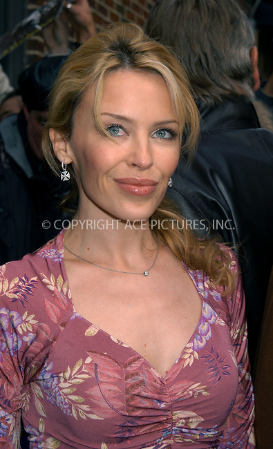 Kylie Minogue arrives on the 'Letterman' show. New York, February 12, 2004. Please byline: AJ SOKALNER/ACE Pictures.   ..*PAY-PER-USE*      ....IMPORTANT: Please note that our old trade name, NEW YORK PHOTO PRESS (NYPP), is replaced by new name, ACE PICTURES. New York Photo Press and ACE Pictures are owned by All Celebrity Entertainment, Inc.......All Celebrity Entertainment, Inc:  ..contact: Alecsey Boldeskul (646) 267-6913 ..Philip Vaughan (646) 769-0430..e-mail: info@nyphotopress.com