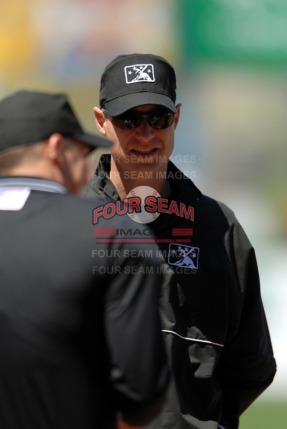 International League Umpire Derek Crabill during a game between the Pawtucket Red Sox and Toledo Mud Hens on May 1, 2011 at McCoy Stadium in Pawtucket, Rhode Island. Photo by Ken Babbitt/Four Seam Images.