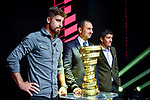 Peter Sagan, Vincenzo Spadafora and Richard Carapaz on stage at the route presentation for the 103rd edition of the Giro d'Italia 2020. L-R Renato Di Rocco, Vincenzo Spadafora, Urbano Cairo, Giuseppe Sala. Held in the RAI Studios, Milan, Italy. <br /> 24th October 2019.<br /> Picture: LaPresse/Claudio Furlan | Cyclefile<br /> <br /> All photos usage must carry mandatory copyright credit (© Cyclefile | LaPresse/Claudio Furlan)
