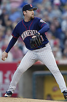 Matt Kinney of the Minnesota Twins pitches during a 2002 MLB season game against the Los Angeles Angels at Angel Stadium, in Anaheim, California. (Larry Goren/Four Seam Images)