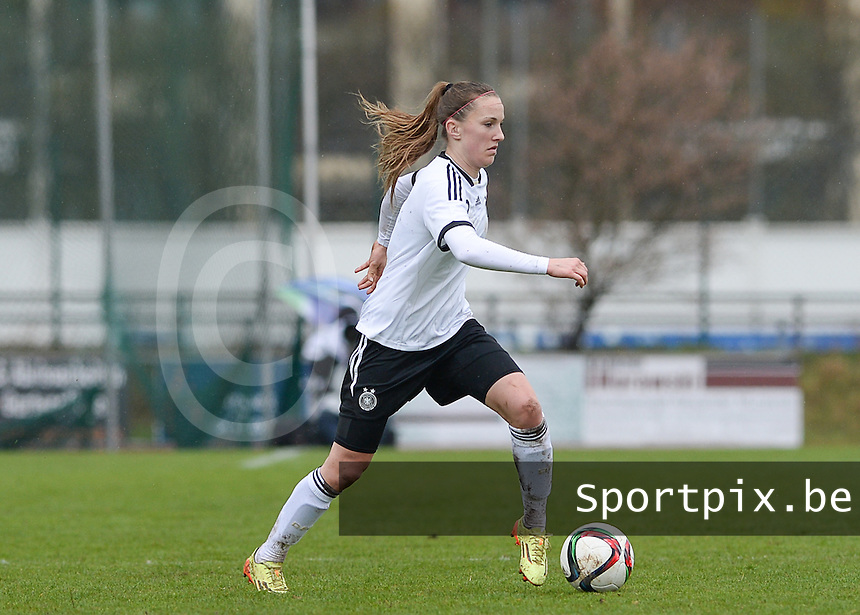 20150404 - FORST , GERMANY  : German Michaela Brandenburg  pictured during the soccer match between Women Under 19 teams of Germany and Scotland , on the first matchday in group 5 of the UEFA Elite Round Women Under 19 at WaldseeStadion , Forst , Germany . Saturday 4th April 2015 . PHOTO DAVID CATRY