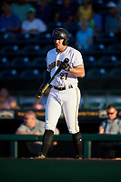 Bradenton Marauders center fielder Casey Hughston (27) at bat during a game against the Tampa Tarpons on April 25, 2018 at LECOM Park in Bradenton, Florida.  Tampa defeated Bradenton 7-3.  (Mike Janes/Four Seam Images)