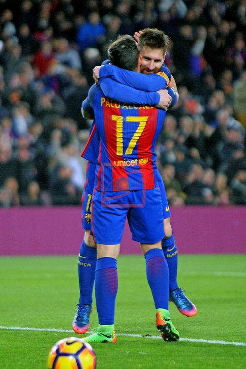 League Santander 2016/2017. Game: 25.<br /> FC Barcelona vs Real Sporting SAD: 6-1.<br /> Lionel Messi &amp; Paco Alcacer.
