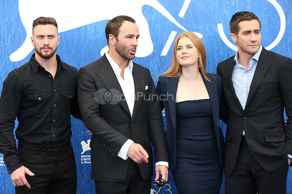 Aaron Taylor Johnson, Tom Ford, Amy Adams, Jake Gyllenhaal attends the photocall of 'Nocturnal Animals' during the 73rd Venice Film Festival at Palazzo del Casino on September 2, 2016 in Venice, Italy.<br /> CAP/GOL<br /> &copy;GOL/Capital Pictures /MediaPunch ***NORTH AND SOUTH AMERICAS ONLY***