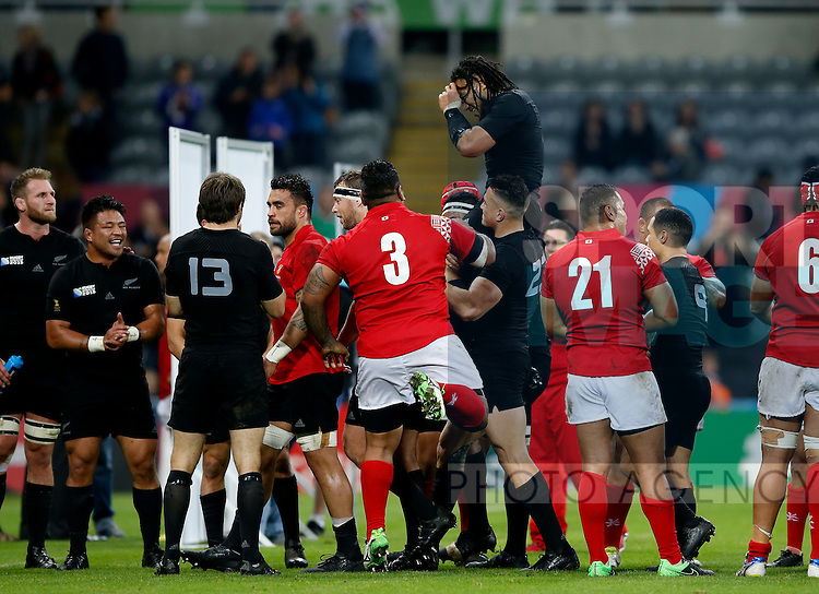Ma'a Nonu of New Zealand is chaired off the pitch following his 100th cap - Rugby World Cup 2015 - Pool C - New Zealand vs Tonga - St James' Park Stadium - Newcastle - England - 9th October 2015 - Picture Simon Bellis/Sportimage