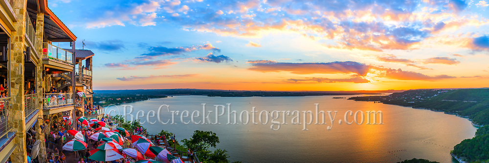 "We captured this panorama of an Austin Oasis restaurant and sunset at Lake Travis. The restaurant is located in far west Austin at the foothills of the Texas Hill Country on Lake Travis. The Oasis restaurant likes to promote itself as the ""Sunset Capital of Texas"" with it decks facing west for maximum sunset views. The restaurant sit on a bluff about 450 feet over the lake overlooking the big bowl at the lake. Lake Travis is part of the Highland lakes, after Mansfield dam was built in 1942 it became the largest reservoir for water storage creating the largest area of water where the Oasis overlook is. The Oasis restaurant is popular with locals and tourist and it not uncommon to find buses lined up in the parking lot. It has become a destination for people traveling in this area of the Hill Country to visit to capture a peak at the sunset. Most people who live in Austin will tell you The sunsets view from this location are great anytime of the year. The Oasis restaurant has been here for thirty years, but in 2005 a lightning fire destroyed parts of the structure but it was back in business about two weeks later over time the portion that had burn down was re-built and expanded for maximun sunset views. This Lake is one of the largest reservoir of water along the Highland lakes. another beautiful sunset in the Texas hillcountry. beecreekphoto.com, Tod Grubbs,"