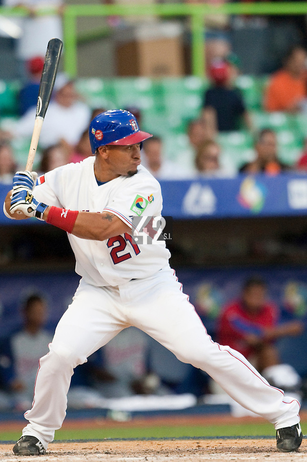 8 March 2009: #21 Miguel Olivio of Dominican Republic is seen at bat during the 2009 World Baseball Classic Pool D match at Hiram Bithorn Stadium in San Juan, Puerto Rico. Dominican Republic wins 9-0 over Panama.