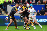 Charles Piutau of Wasps is tackled. European Rugby Champions Cup quarter final, between Wasps and Exeter Chiefs on April 9, 2016 at the Ricoh Arena in Coventry, England. Photo by: Patrick Khachfe / JMP