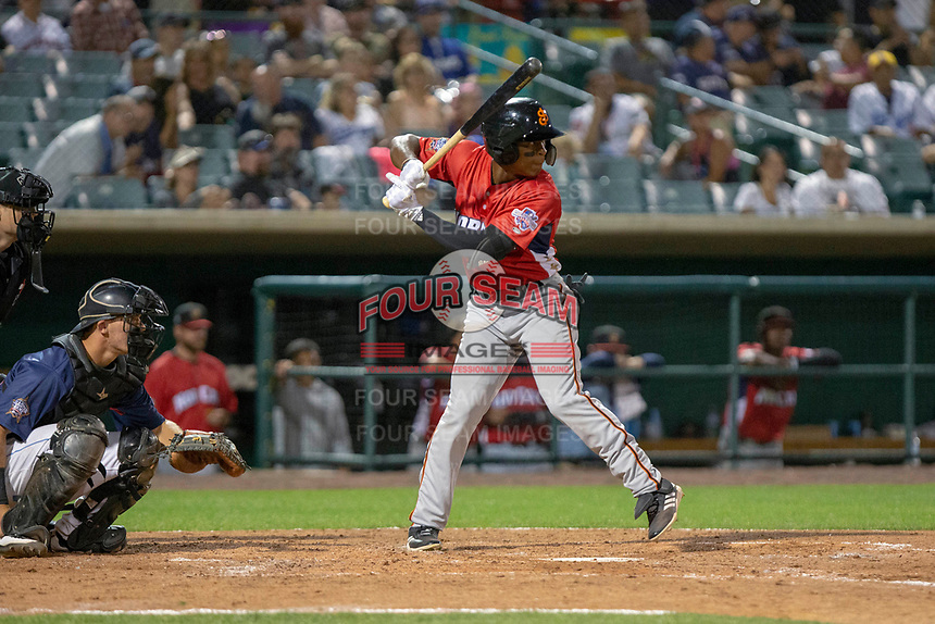 Jalen Miller (2) of the San Jose Giants at bat against the South Division during the 2018 California League All-Star Game at The Hangar on June 19, 2018 in Lancaster, California. The North All-Stars defeated the South All-Stars 8-1.  (Donn Parris/Four Seam Images)