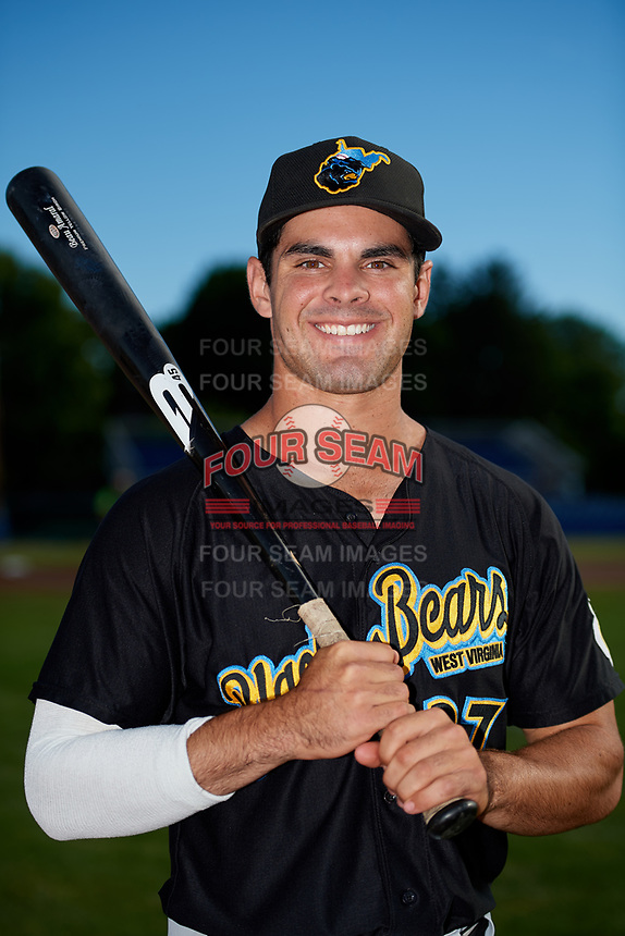 West Virginia Black Bears Daniel Amaral (27) poses for a photo before a game against the Batavia Muckdogs on June 19, 2018 at Dwyer Stadium in Batavia, New York.  West Virginia defeated Batavia 7-6.  (Mike Janes/Four Seam Images)