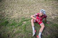 Rick Zabel (DEU/Katusha-Alpecin) crashed out in a puddle<br /> <br /> 72nd Dwars Door Vlaanderen (1.UWT)<br /> 1day race: Roeselare &rsaquo; Waregem BEL (203.4km)