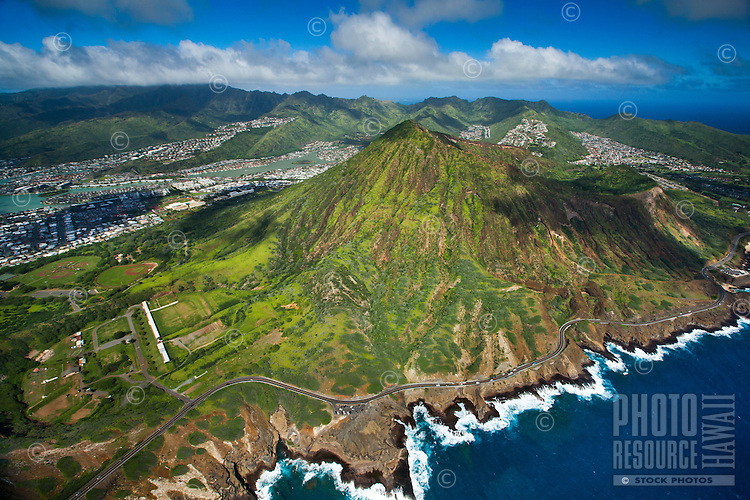 An aerial view of Koko Crater and the Koko Head Shooting Complex, with Hawai'i Kai residences and businesses and the Ko'olau Range beyond, East O'ahu.