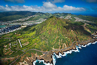 An aerial view of Koko Crater and the Koko Head Shooting Complex, with Hawai'i Kai residences and businesses and the Ko'olau Range beyond, East O'ahu.
