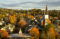 small town, fall, Montpelier, VT, Vermont, Aerial view of the city of Montpelier in the autumn.