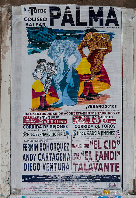 Poster for event at Barrio Gotico Bullring (Plaza de Toros) in Palma de Mallorca, Balearic Islands, Spain