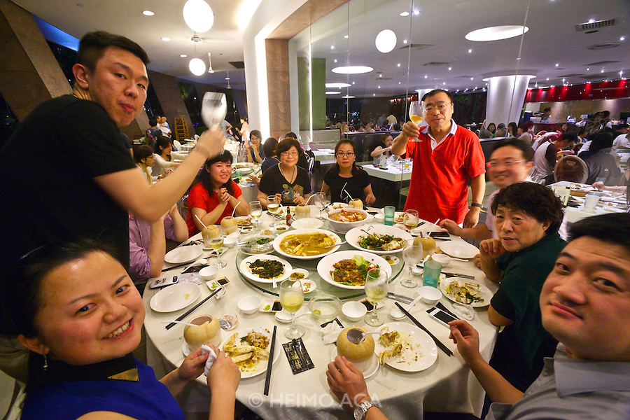 """Family dinner at the """"No Signboard Seafood"""" restaurant at the Esplanade Theatres On The bay (Cultural Centre, dubbed """"the Durian"""" because of its shape)."""