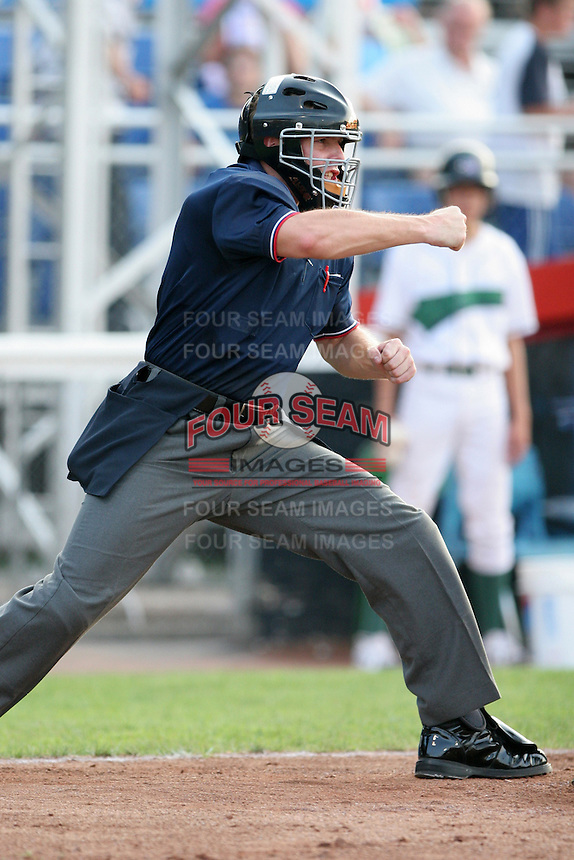 Umpire Tripp Gibson during a NY-Penn League game at Russell Diethrick Park on July 31, 2006 in Jamestown, New York.  (Mike Janes/Four Seam Images)