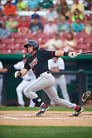 Great Lakes Loons second baseman Jimmy Allen (15) at bat during a game against the Kane County Cougars on August 13, 2015 at Fifth Third Bank Ballpark in Geneva, Illinois.  Great Lakes defeated Kane County 7-3.  (Mike Janes/Four Seam Images)