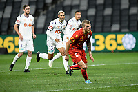 30th July 2020; Bankwest Stadium, Parramatta, New South Wales, Australia; A League Football, Adelaide United versus Perth Glory; Riley McGree of Adelaide United misses the penalty which is saved by goalie Liam Reddy of Perth Glory
