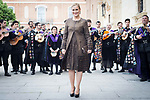 "Cristina Cifuentes with ""La Tuna"" behind during award ceremony of literature in Spanish ""Miguel de Cervantes"" at University of Alcala de Henares in Madrid., April 20, 2017. Spain.<br /> (ALTERPHOTOS/BorjaB.Hojas)"