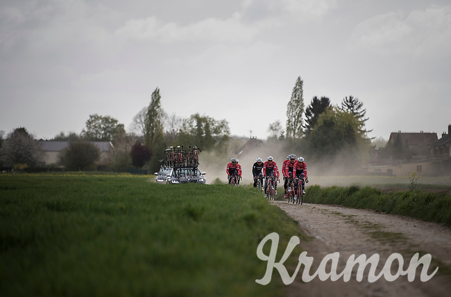 Team Trek-Segafredo during their 2017 Paris-Roubaix recon, 3 days prior to the event.