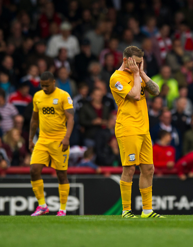 Preston North End's Aidan McGeady head in hands as they concede a fifth goal<br /> <br /> Photographer Ashley Western/CameraSport<br /> <br /> The EFL Sky Bet Championship - Brentford v Preston North End - Saturday 17 September 2016 - Griffin Park - London<br /> <br /> World Copyright &copy; 2016 CameraSport. All rights reserved. 43 Linden Ave. Countesthorpe. Leicester. England. LE8 5PG - Tel: +44 (0) 116 277 4147 - admin@camerasport.com - www.camerasport.com