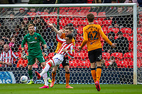 7th March 2020; Bet365 Stadium, Stoke, Staffordshire, England; English Championship Football, Stoke City versus Hull City; Tom Ince of Stoke City under pressure from Elder of Hull in the Hull area