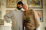 Milano, 2000 circa, Daro Fo a casa con suo figlio Jacopo, Dario Fo at home  with his son Jacopo