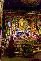 Statue of Buddha, Samye Monastery, Chatang, Lhoka (Shannan) Prefecture, Tibet (Xizang), China. Samye is the first Buddhist monastery built in Tibet.