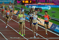 Laura WEIGHTMAN of GBR punches the air as she wins the 1500m in a time of 4.06.09 during the Sainsburys Anniversary Games at the Olympic Park, London, England on 24 July 2015. Photo by Andy Rowland.